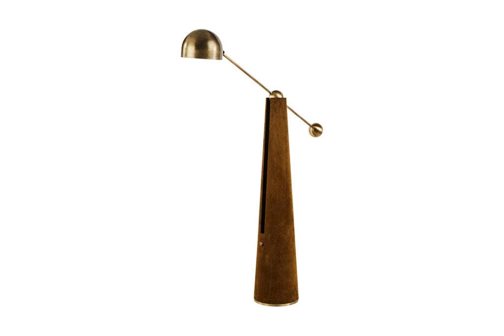 apparatus metronome articulating floor lamp on a white background