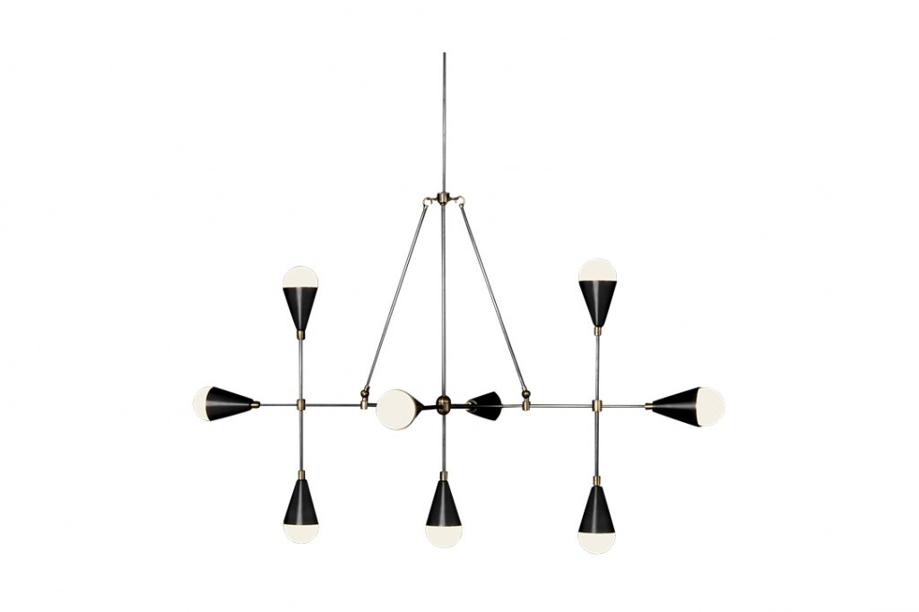 apparatus triad 9 linear pendant light on a white background