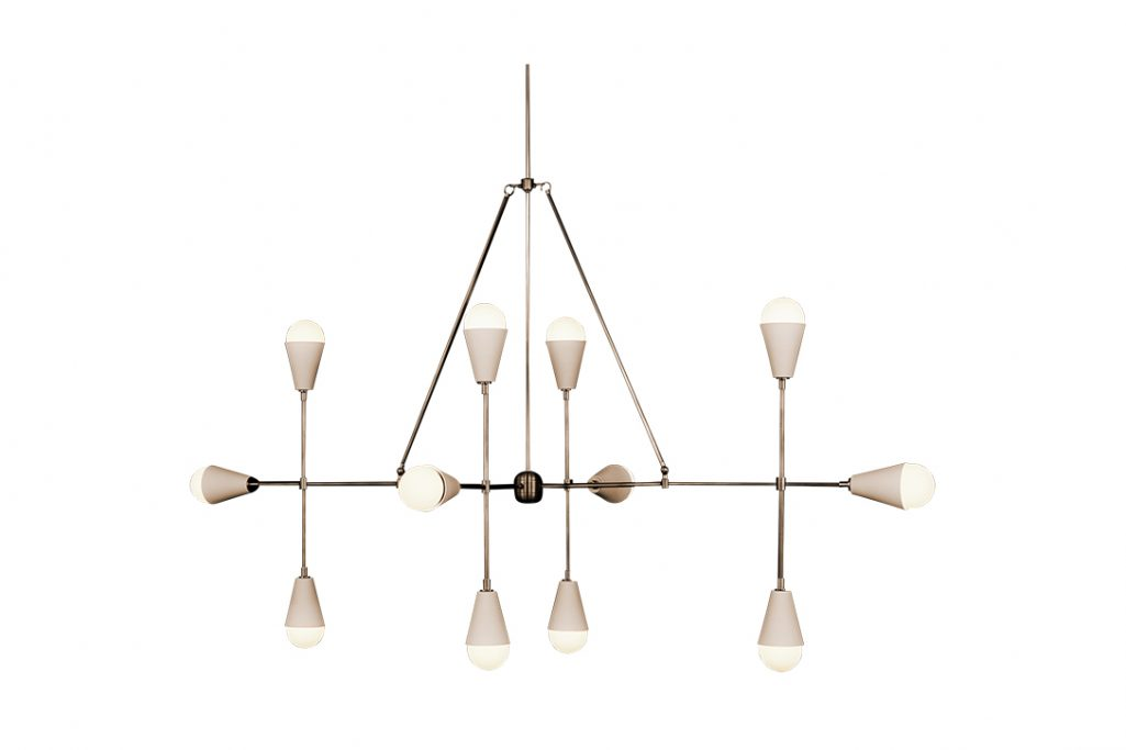 apparatus triad 12 linear pendant light on a white background