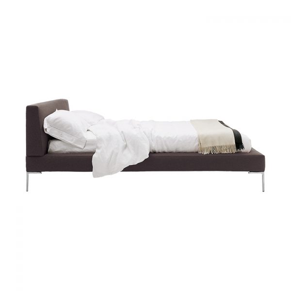 quickship version of b&b italia charles bed with extended sides on a white background