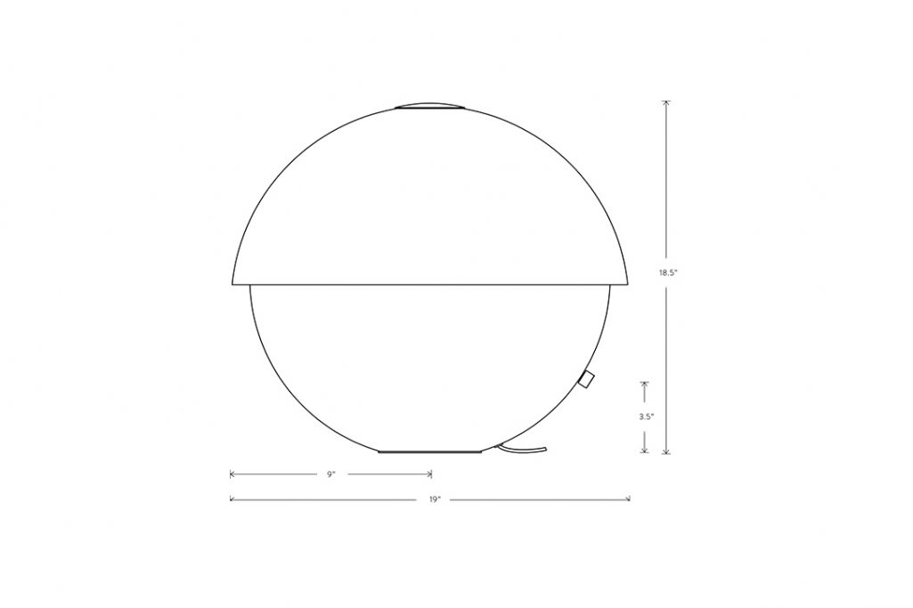 line drawing and dimensions for apparatus axon large table lamp