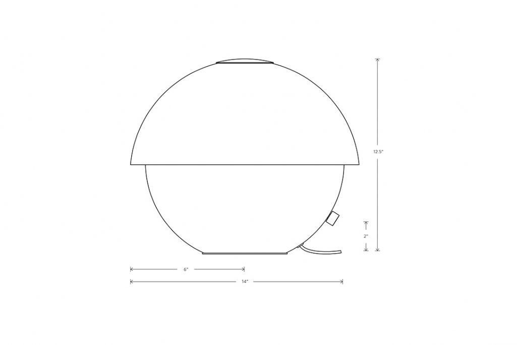 line drawing and dimensions for apparatus axon small table lamp