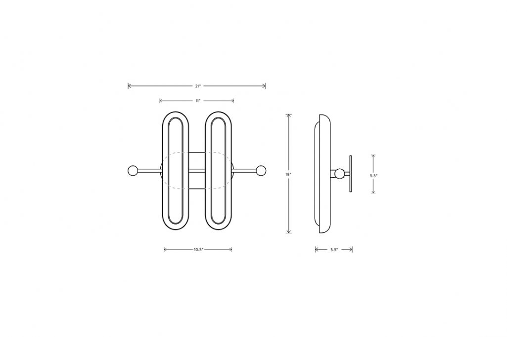 line drawing and dimensions for an apparatus circuit 2 wall ceiling light