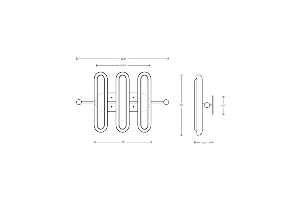 line drawing and dimensions for an apparatus circuit 3 wall ceiling light
