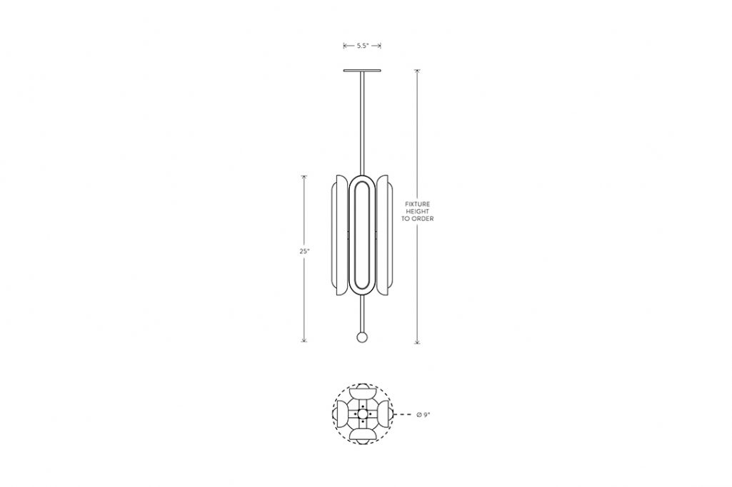 line drawing and dimensions for apparatus circuit 4 vertical pendant light