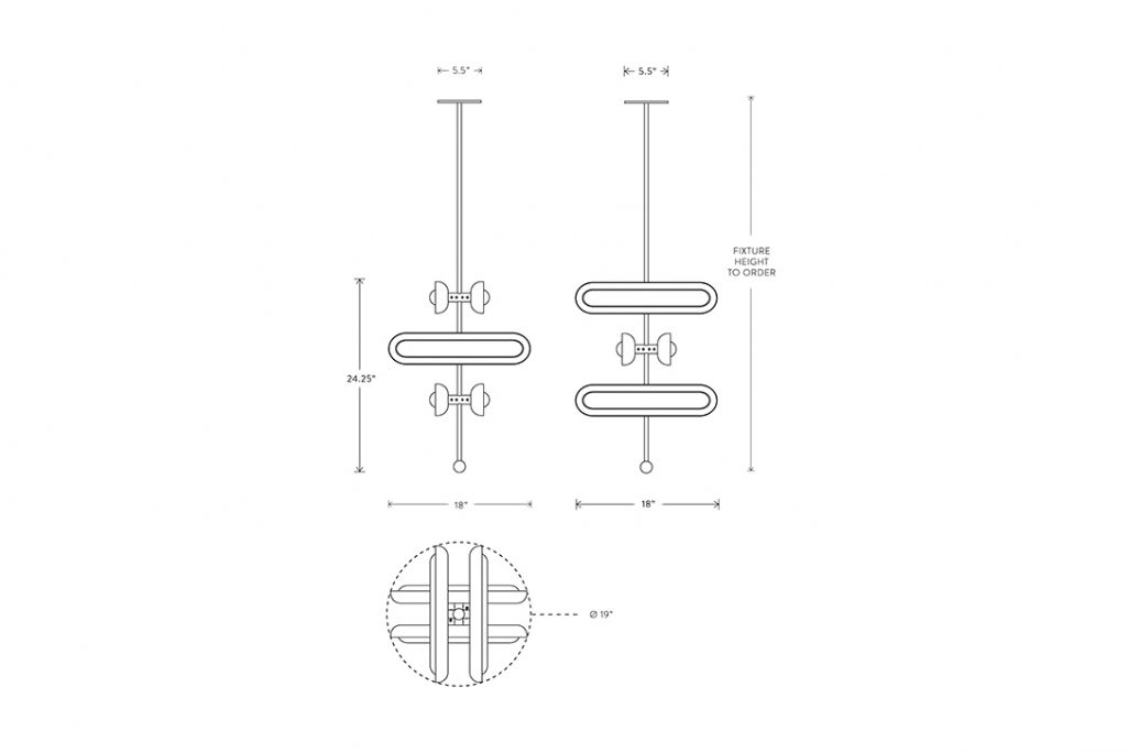 line drawing and dimensions for apparatus circuit 6 stacked pendant light