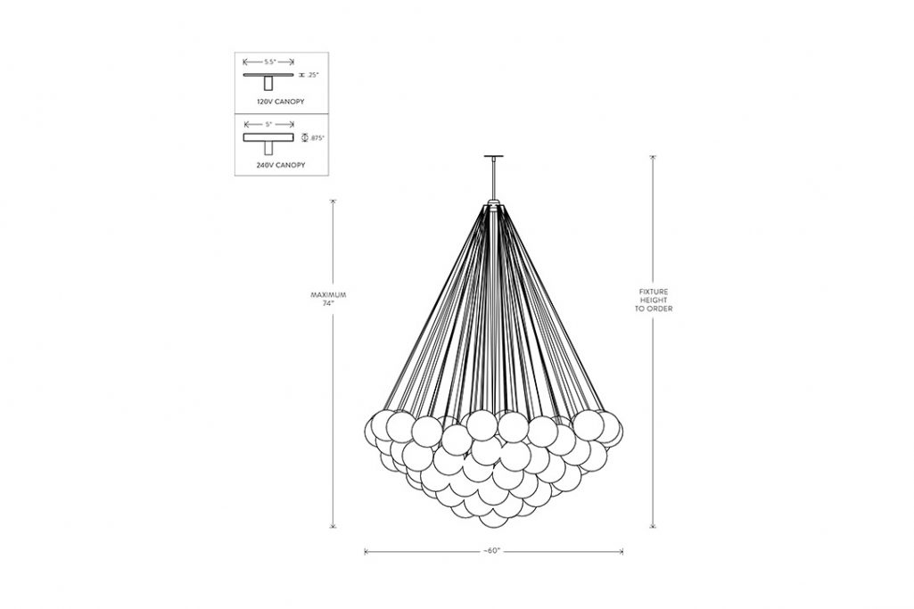 line drawing and dimensions for apparatus cloud xl 73 pendant