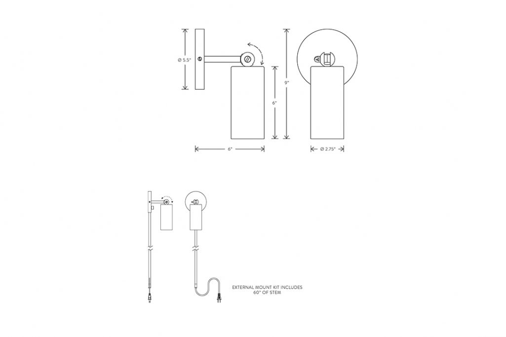line drawing and dimensions for apparatus cylinder sconce