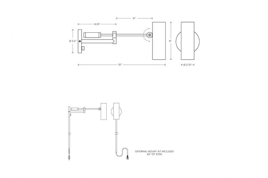 line drawing and dimensions for apparatus cylinder swing arm sconce