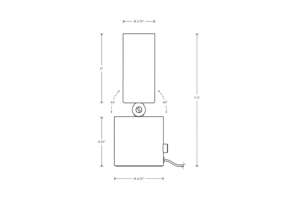 line drawing and dimensions for apparatus cylinder up light