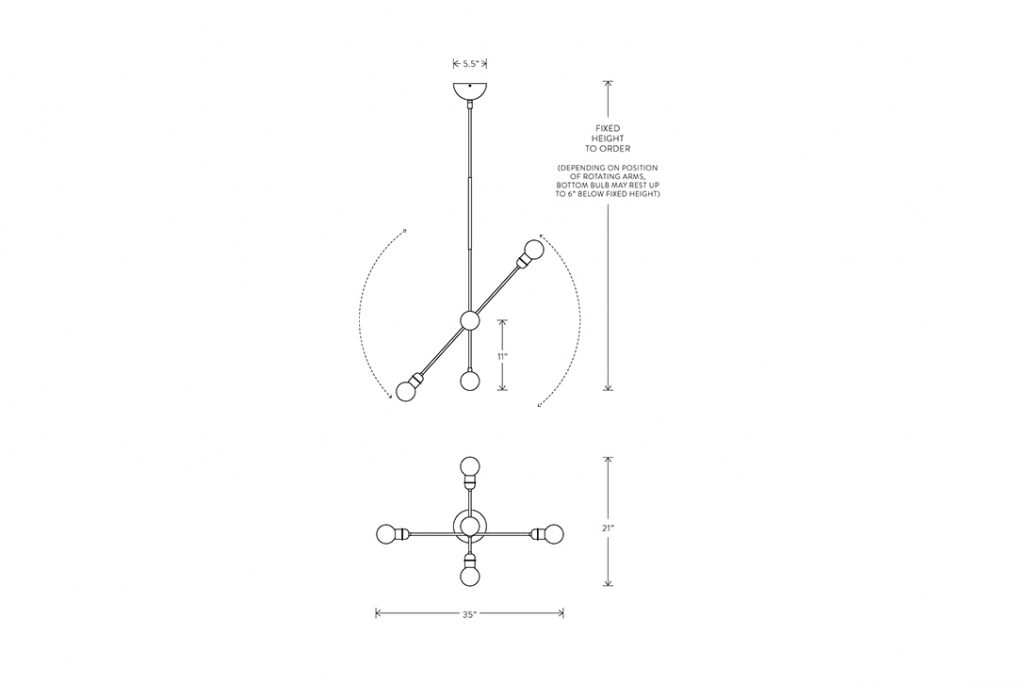 line drawing and dimensions for apparatus highwire small pendant light