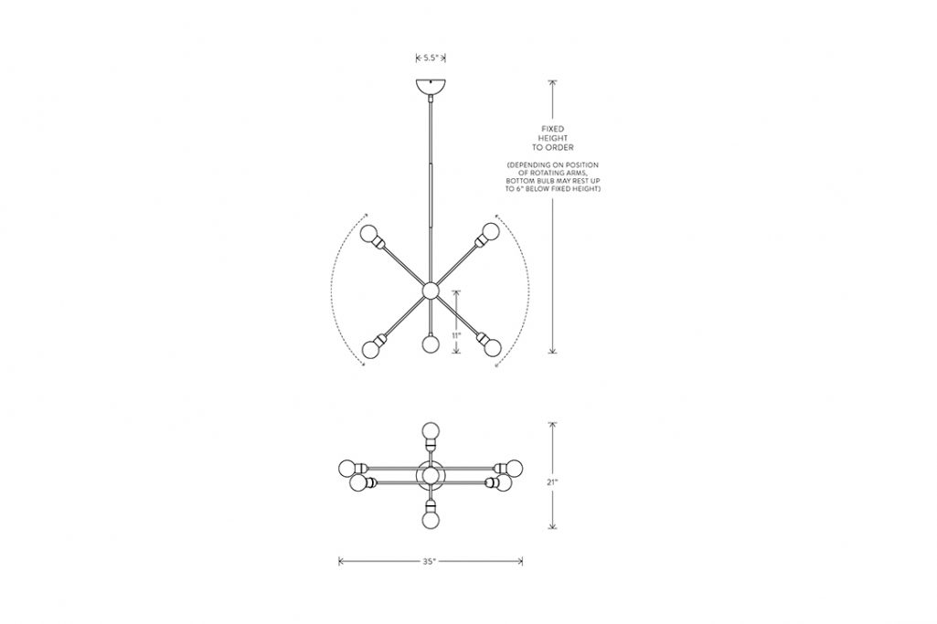 line drawing and dimensions for apparatus highwire small tandem pendant light