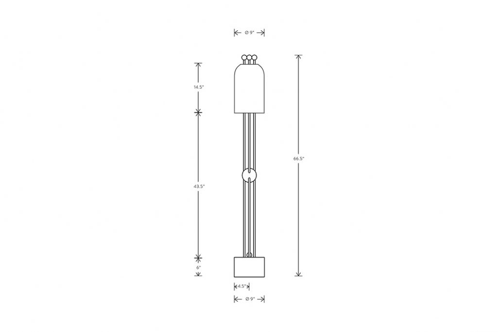 line drawing and dimensions for apparatus lantern floor lamp