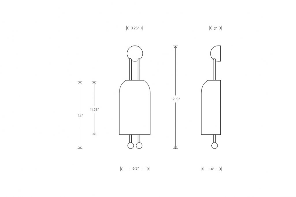 line drawing and dimensions for apparatus lantern sconce