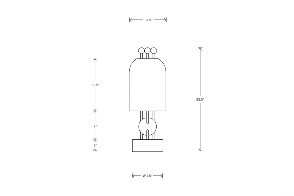 line drawing and dimensions for apparatus lantern table lamp