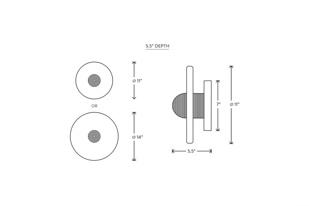 """line drawing and dimensions for apparatus median sconce 5.5"""" depth"""
