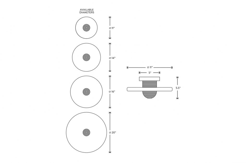 line drawing and dimensions for apparatus median 1 surface mount light