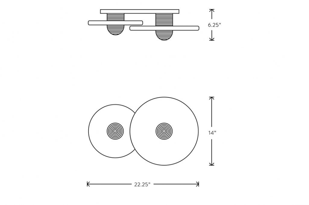 line drawing and dimensions for apparatus median 2 surface mount light