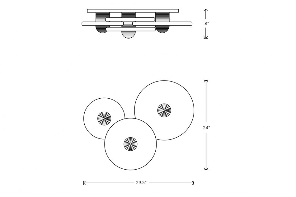 line drawing and dimensions for apparatus median 3 surface mount light