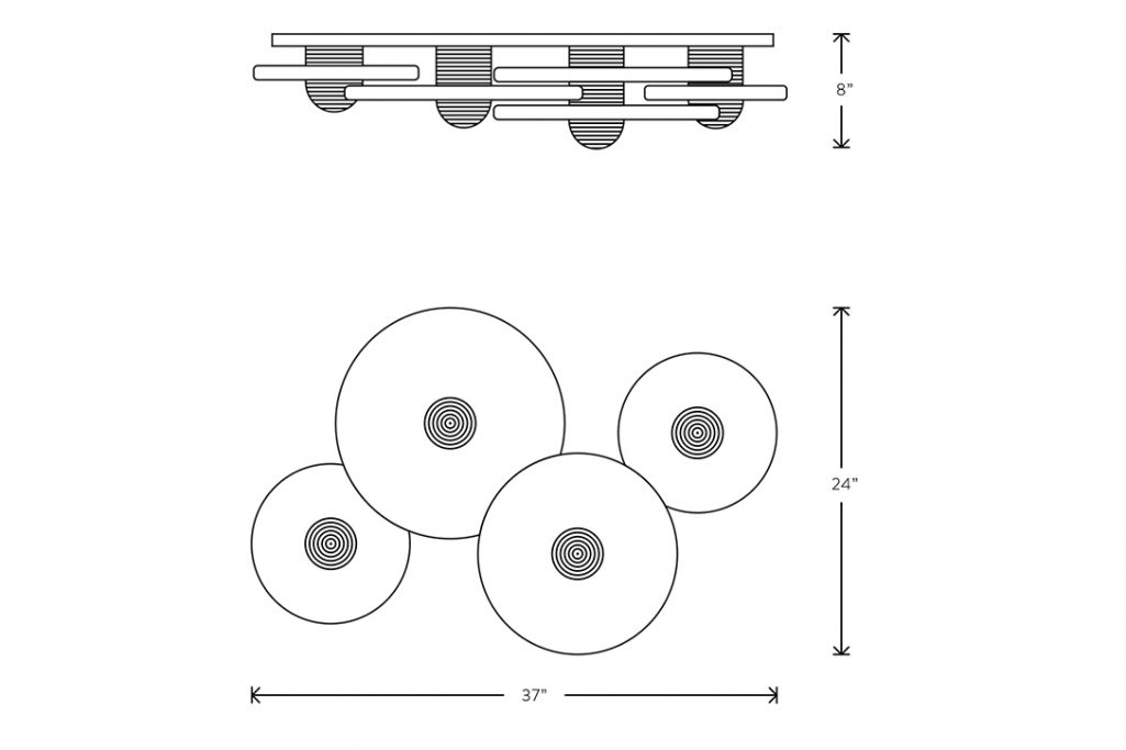 line drawing and dimensions for apparatus median 4 surface mount light