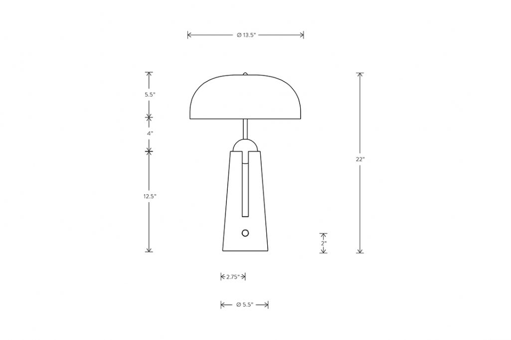 line drawing and dimensions for apparatus metronome table lamp