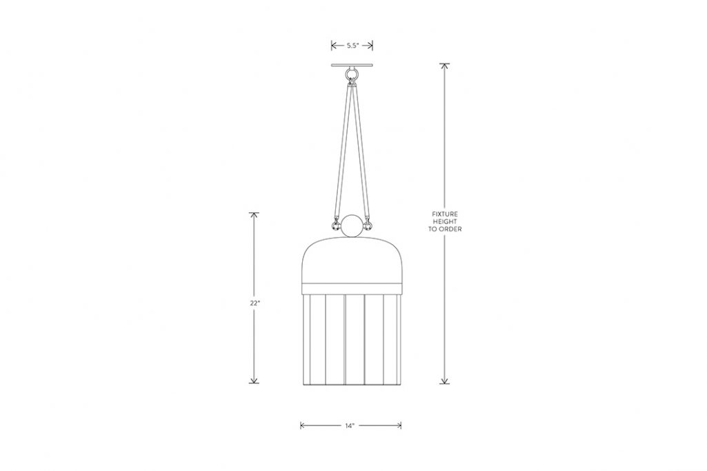line drawing and dimensions for apparatus tassel 19 pendant light