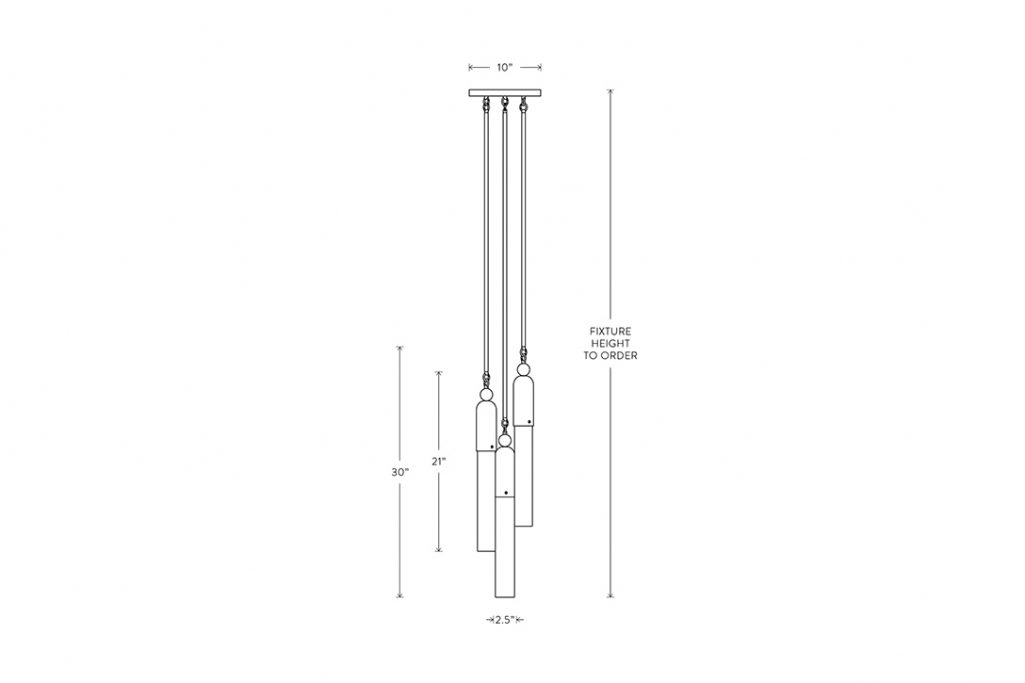 line drawing and dimensions for apparatus tassel 3 staggered pendant light
