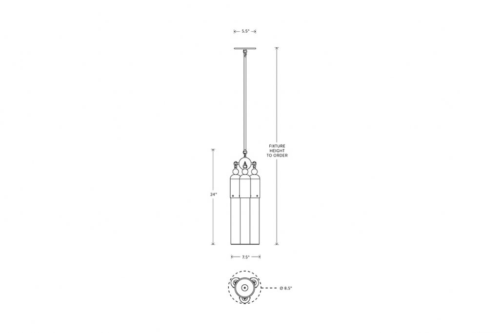 line drawing and dimensions for apparatus tassel 3 pendant light