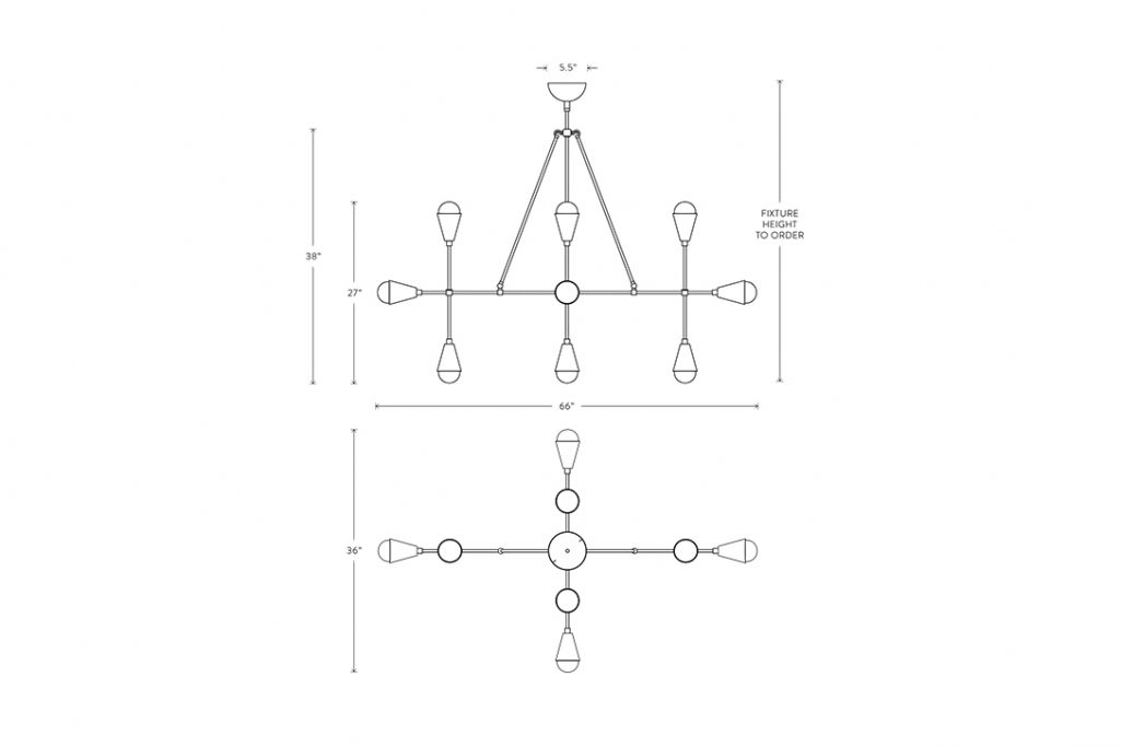 line drawing and dimensions for apparatus triad 12 linear pendant light