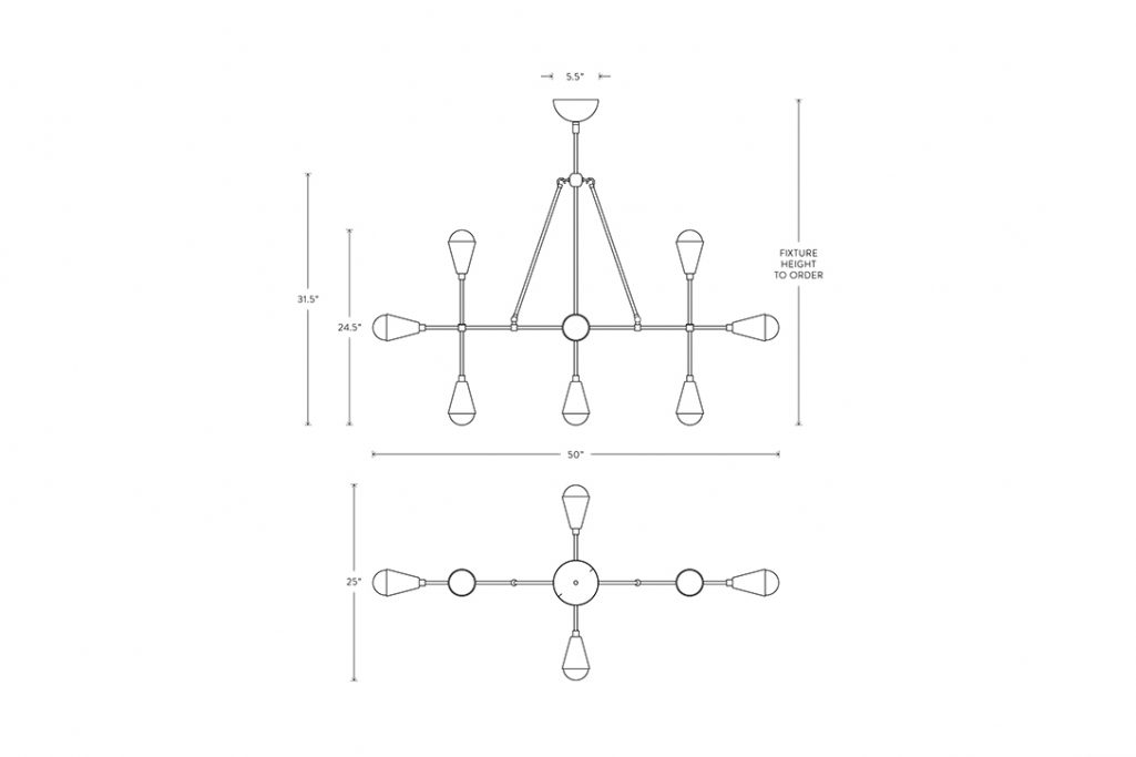 line drawing and dimensions for apparatus triad 9 linear pendant light