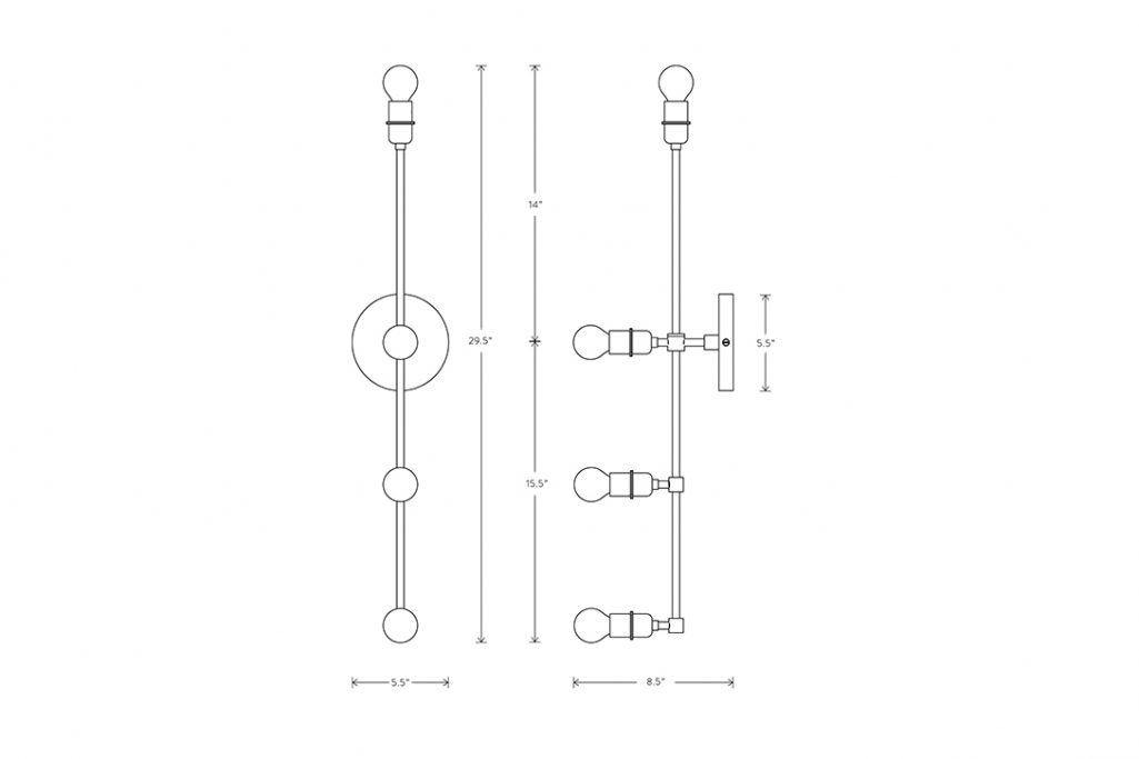 line drawing and dimensions for apparatus vanity sconce