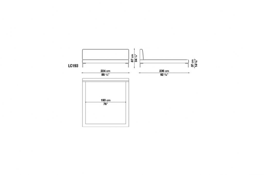line drawing and dimensions for b&b italia charles bed model lc193