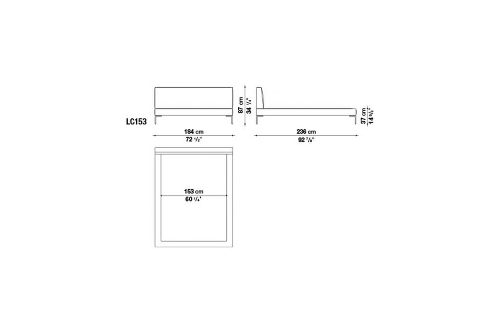 line drawing and dimensions for b&b italia charles bed model lc153