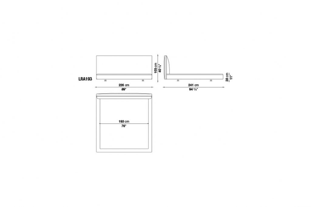 line drawing and dimensions for b&b italia richard bed model lra193