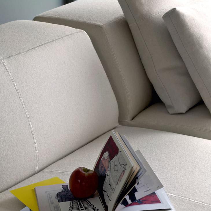 close up of b&b italia bend sofa