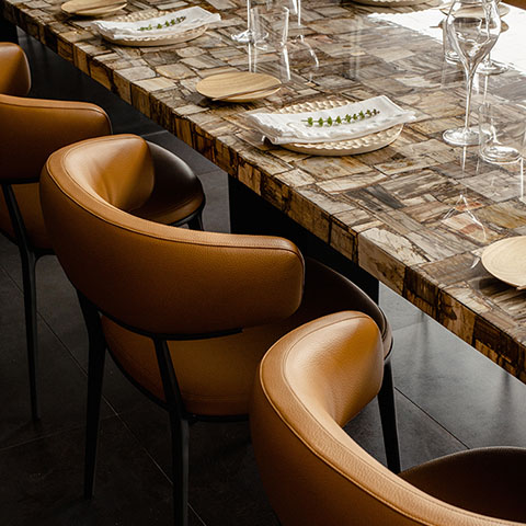 modern dining table with b&b italia caratos chairs