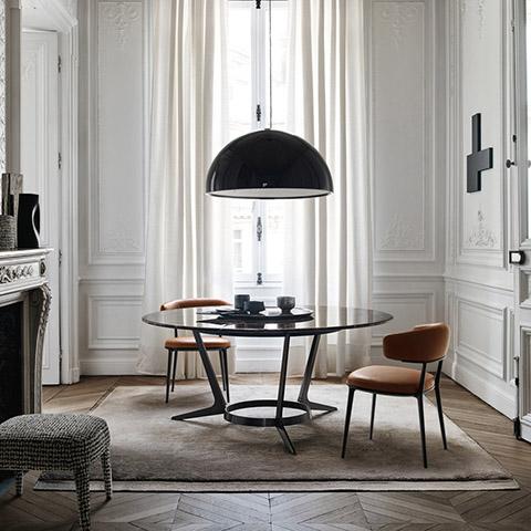 historic dining room featuring b&b italia caratos chairs