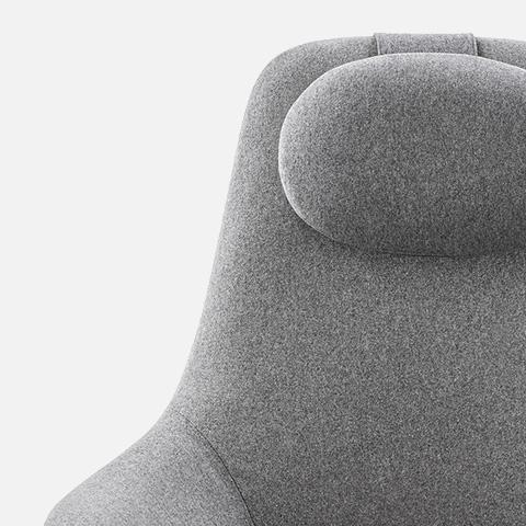 close up of headrest on b&b italia high back harbor armchair