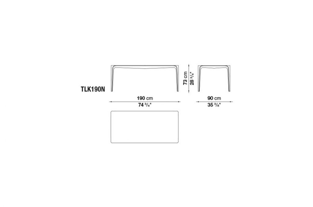 line drawing and dimensions for b&b italia link table model tlk19on