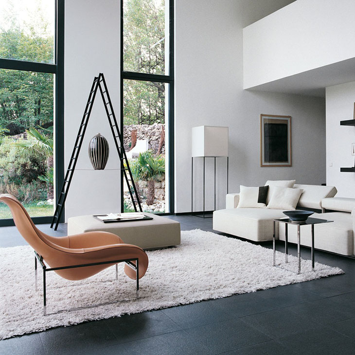 modern living room featuring b&b italia mart recliner