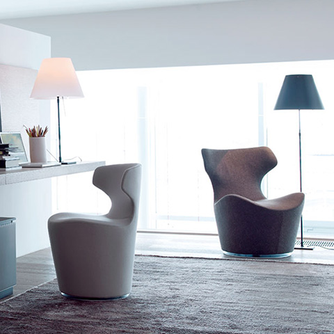 modern home office featuring two b&b italia piccola papilio armchairs