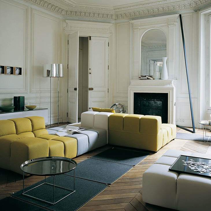 modern living room in a historic building featuring b&b italia tufty time sofa