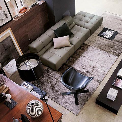 bird's eye view modern living room featuring b&b italia tufty time sofa