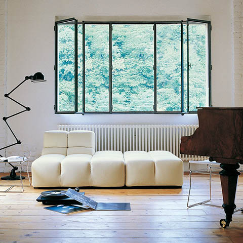 modern living room featuring b&b italia tufty time sofa