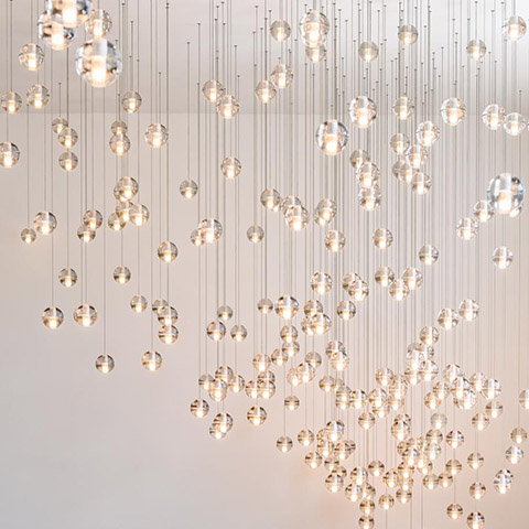 interior space featuring dozens of bocci 14m pendant lights