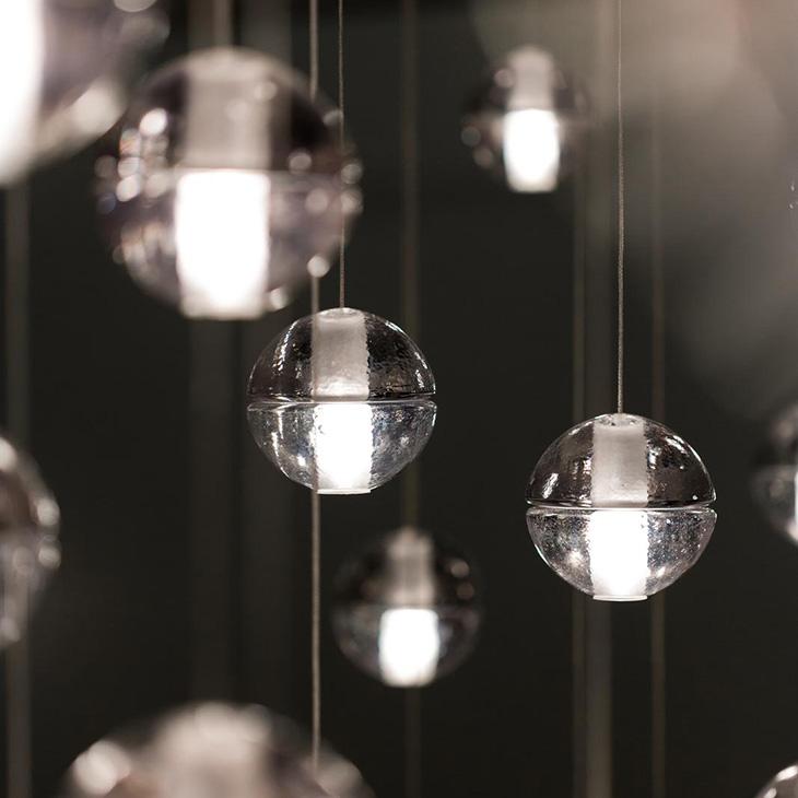 close up of multiple bocci 14.1 pendant lights