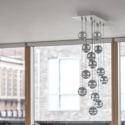 interior space featuring bocci 14 series pendant light