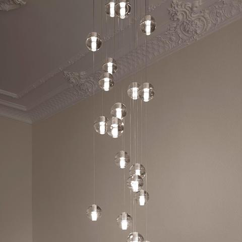 historic interior space featuring bocci 14 series pendant light
