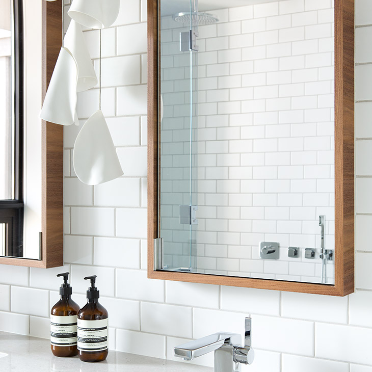 modern bathroom featuring bocci 21 series pendant light