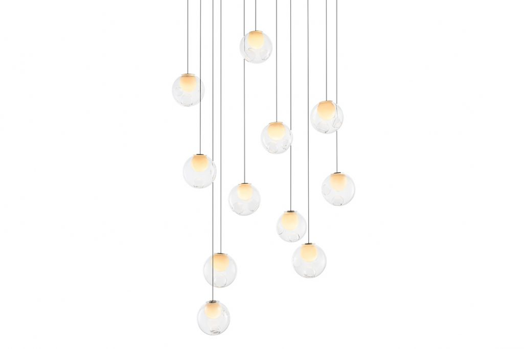bocci 28.11 pendant light with rectangular canopy on a white background